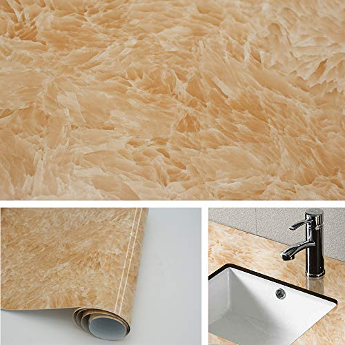 TOTIO Marmor Peelstick Tapete, gelb, Tischaufkleber, Türaufkleber, selbstklebend, Marmor, Vinylfolie, Granit, Kontaktpapier, selbstklebende Rückseite, Kunststofftapete, Regalaufkleber
