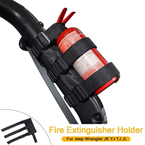 Universal Feuerlöscher Halter Verstellbarer Überrollbügel Feuerlöscher Verstellbarer für Wrangler JK YJ TJ JL (Schwarz)