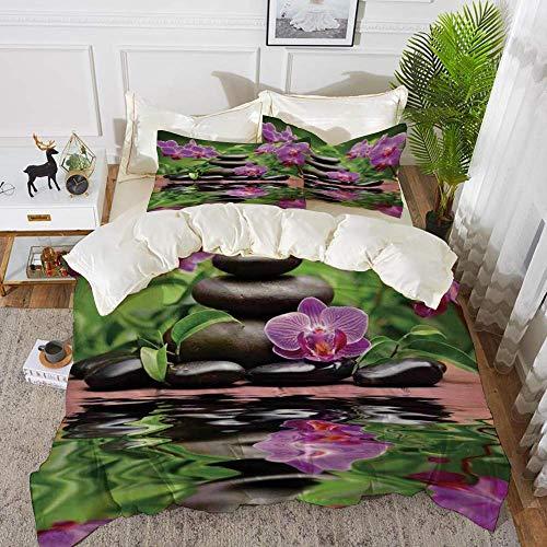 ropa de cama - Juego de funda nórdica, decoración de spa, piedras de basalto zen y orquídea que se refleja en el agua. Bienestar tropical. Juego de funda nórdica de microfibra hipoalergénica con 2 fun
