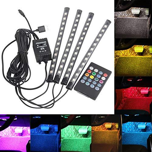 Luces de Tira de Coche 12 LED Luces Interiores de Coche LED Atmósfera Decoración Luz de Tiras Led Control Remoto Inalámbrico Música + Control de voz