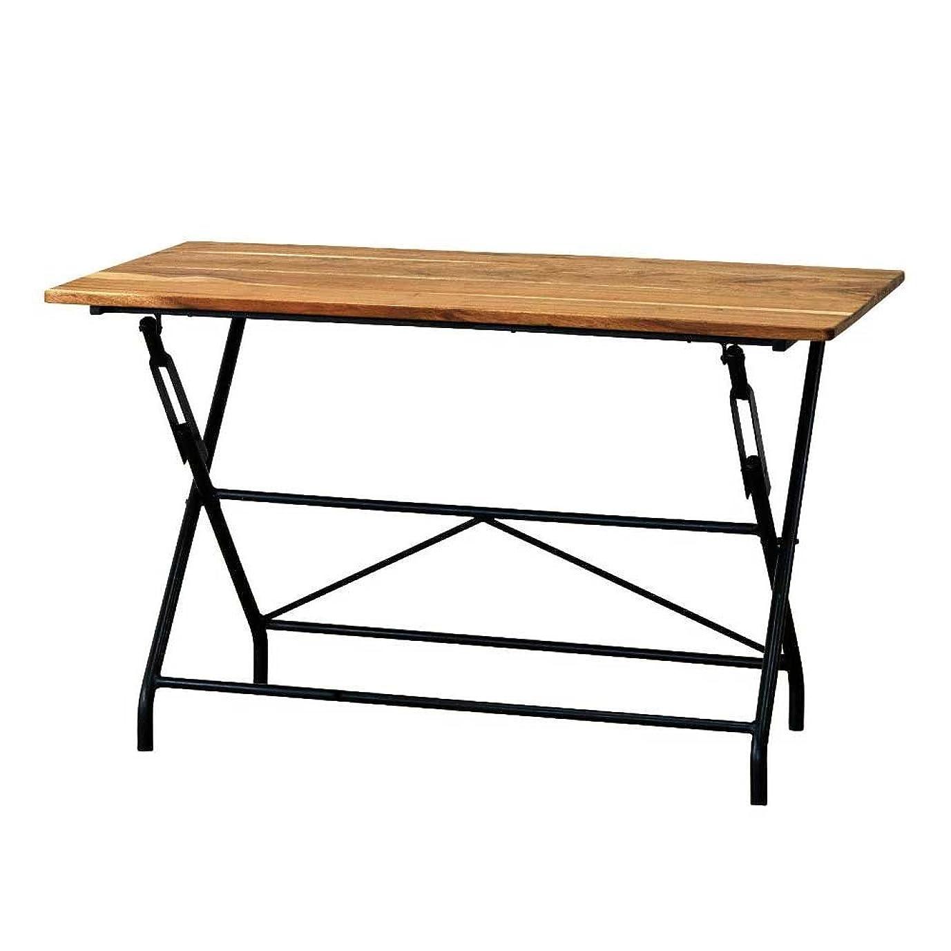 火山学者メンタルゲインセイSPICE OF LIFE 机 折りたたみ テーブル アイアン&ウッド ANCIENT 120×72×60cm 家具 カフェ リビング マルシェ オフィス 会議室 KRFG5100
