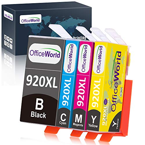 OfficeWorld 920 920XL Ink Cartridges Replacement Compatible with OfficeJet 6000 6500 7000 7500 Inkjet Printers, 4-Combo Pack (1B, 1C, 1M, 1Y)