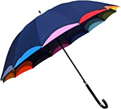 傘 レディース 長傘 親骨55cm 14本骨 ジャンプ ワンタッチ 裾レインボー ジャンプ式雨傘