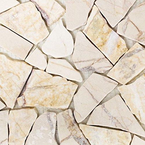 Mosaik Fliese Marmor Naturstein Bruch Ciot golden cream poliert Struktur für BODEN WAND BAD WC DUSCHE KÜCHE FLIESENSPIEGEL THEKENVERKLEIDUNG BADEWANNENVERKLEIDUNG Mosaikmatte Mosaikplatte