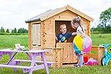 TIMBELA M500 Maisonnette avec terrasse - en Bois- Maison de Jardin pour l'exterieur- emboîtée ép. 19 mm