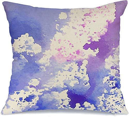 JKSA Funda de Almohada Decorativa Cloud Cosmos Splatter Oil Violeta Azul Acuarela Stroke Blot Dibujado a Mano Diseño Abstracto Aquarelle Lino Throw Pillows Funda para sofá Cama Sofá Funda de Almohada