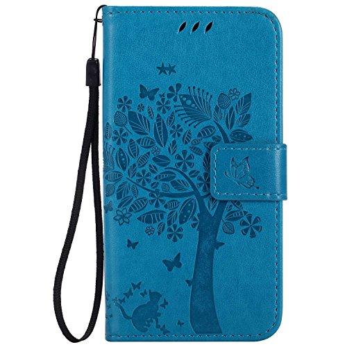 Guran® PU Leder Tasche Etui für Xiaomi Mi5 Smartphone Flip Cover Stand Hülle & Karte Slot Hülle-blau