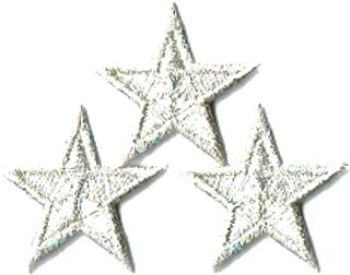 刺繍ワッペン アイロンパッチ ミニ星スター 3個セット NO-5530 (シルバー)