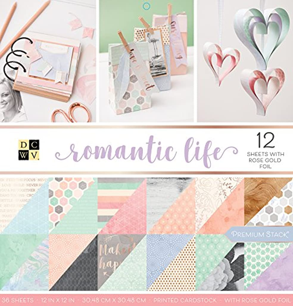 DCWV 24 Sheets Rose Gold Foil Romantic Life 12 x 12 Inch Stacks