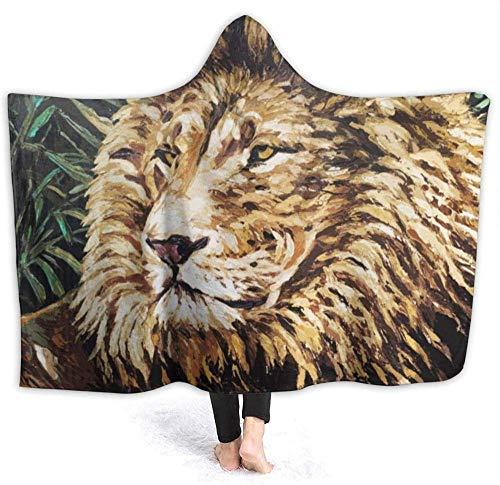kglkb Schlafsofa Decken Werfen Massai Lion Tragbare Kapuzenpullover-Decke,Warmer Kapuzenmantel Mit Kapuze Für Erwachsene Spieler Und Leser 150×130cm