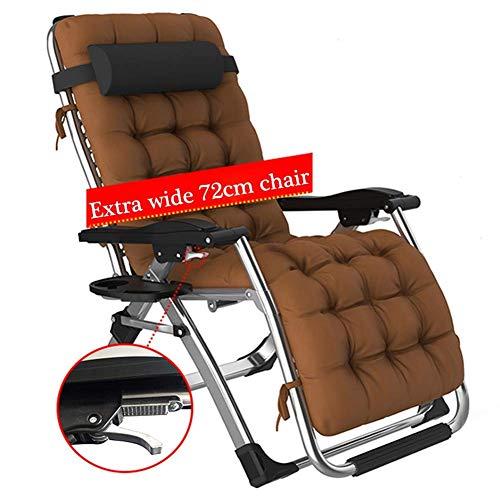 XXINZWU Silla Acolchada Oversize Zero Gravity Chair, Amplio reposabrazos reclinable Ajustable con portavasos, Soporte 440 lbs para jardín al Aire Libre Playa Camping Patio