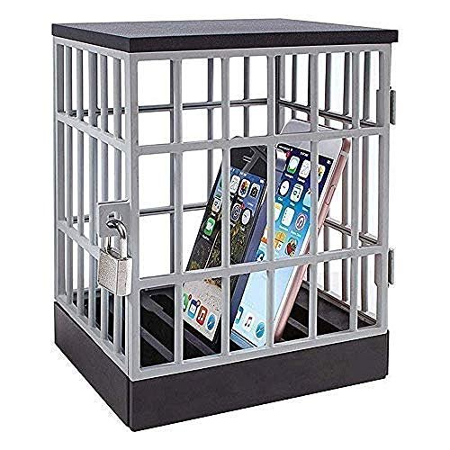 Jail for Phone Cell Phones Prison Phone Jail Cell Phones Prison Lock Up Safe Smartphone Stand Holders Classroom Home Table Office Storage Gadget -Family Time, Party Fun Novelty Gift Idea