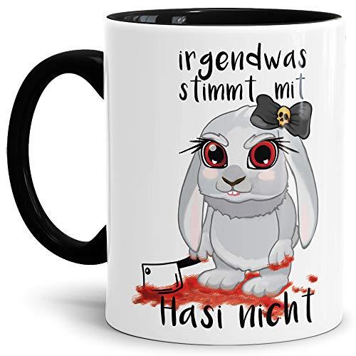 Tassendruck Oster-Tasse Irgendwas stimmt mit Hasi Nicht - Ostern/Witzig/Oster-Geschenk/Schön/Lustig/Innen & Henkel Schwarz