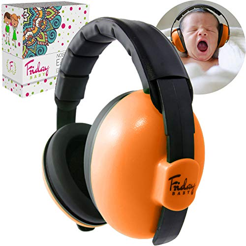 Image of Fridaybaby Baby Ear Protection (0-2+ Years) - Comfortable and Adjustable Baby Ear Muffs Noise Protection for Infants & Newborns | Baby Headphones Noise Reduction for Concerts Fireworks (Orange)