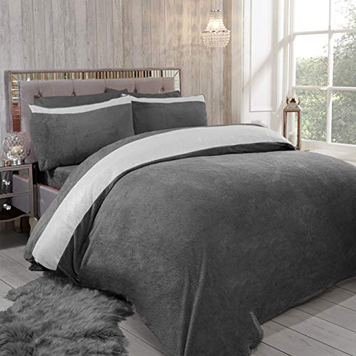Teddy Bear DIAMANTE SHIMMER Fleece Duvet Cover Set with Pillow Case Thermal Fluffy Warm Soft Cozy Bedding Bed Set (Grey, Double)