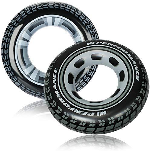 com-four® 2X Aufblasbarer Schwimmreifen im Reifen Design - Schwimmring für Kinder und Erwachsene [Auswahl variiert] (02 Stück - Ø 91 cm Autoreifen)