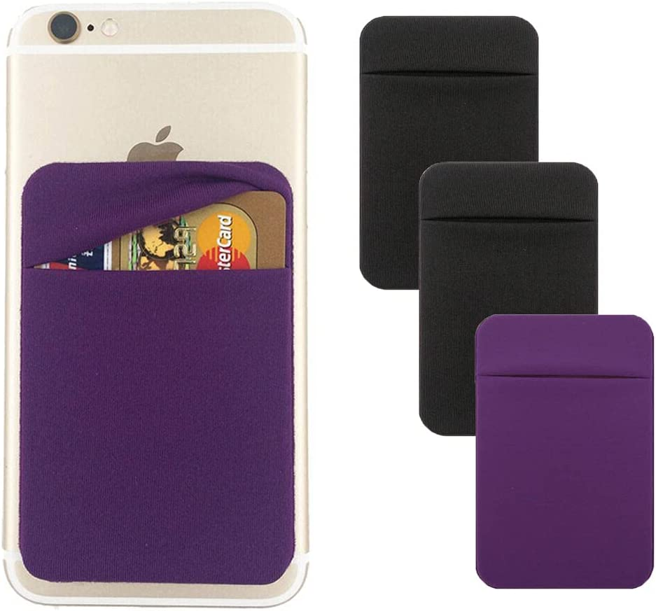 3Pack Cell Phone Card Holder Pocket for Back of Phone,Stretchy Lycra Stick on Wallet Credit Card ID Case Pouch Sleeve 3M Adhesive Sticker with Flap for iPhone Samsung Galaxy (2Black+1Purple)