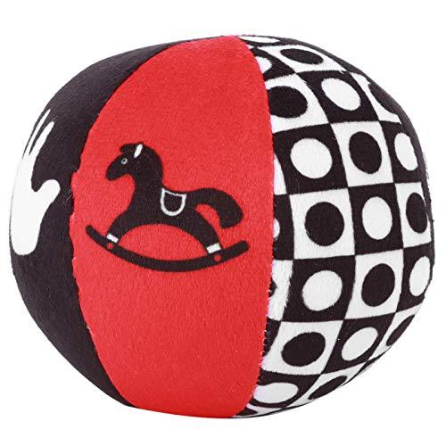 DERCLIVE Baby Grasp Bell Bola de tela de felpa para bebé, suave, multicolor, juguete educativo (negro y blanco)