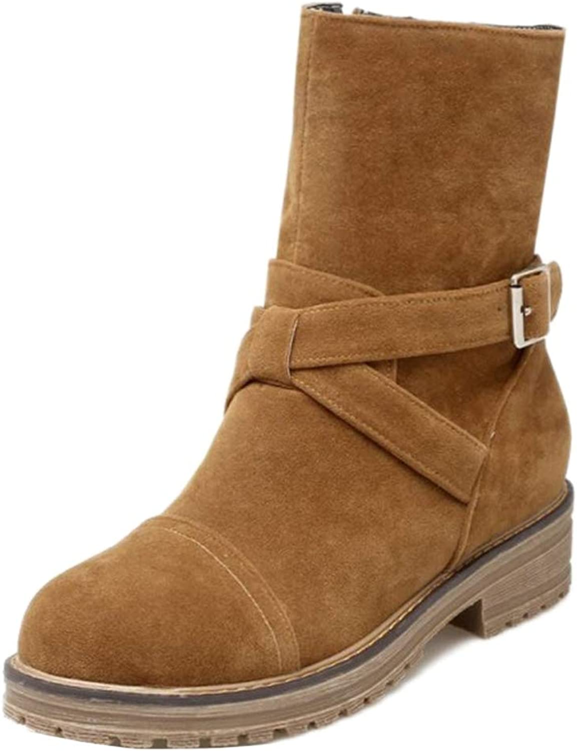 Hoxekle Women Velvet Mid-Calf Flat Boots with Round Toe Zip Short Plush Snow Boots Autumn Fashion Casual shoes