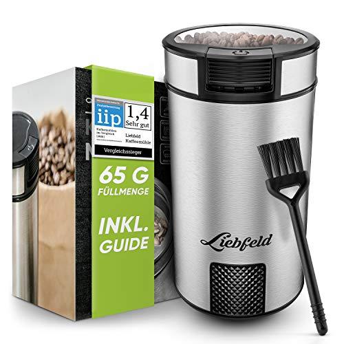 Liebfeld - Elektrische Kaffeemühle mit 65g Füllmenge I Kaffemühle elektrisch mit Edelstahlmesser I Coffee Grinder für Nüsse & Gewürze