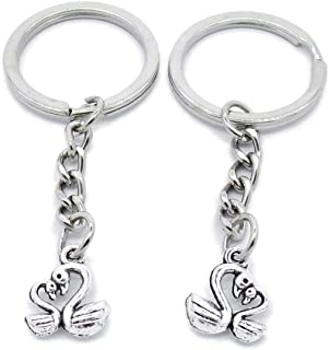Metal Antique Silver Plated Keychains Keyrings Keytag YK107 Parent Child Swan Goose Key Chain Ring