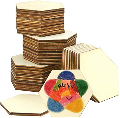 Newbested 36 PCS 3.5 Inch Unfinished Wood Hexagon Pieces,Natural Blank Wood Hexagon Slice Slabs Cutouts for Christmas,Wedding,Coasters,Painting,Staining,DIY Craft and Home Decoration(9cm in Diameter)
