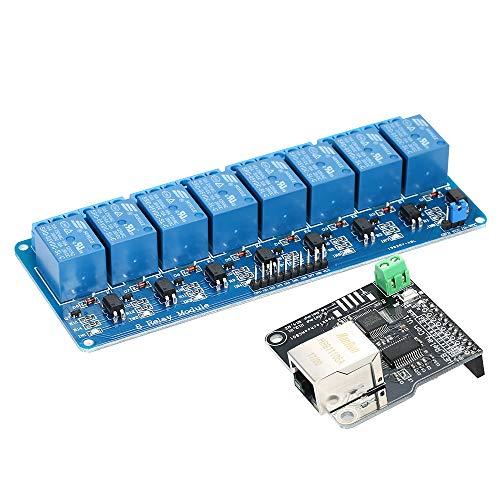 KKmoon Módulo de Controle Ethernet LAN WAN Servidor Web Rede IP TCP Porta RJ45 + 8 Canal Relé Placa de Expansão para Arduino iOS Relé Raspberry Pi 8 CHs