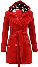 Leomodo Women Plaid Warm Fleece with Belt Hooded Woolen Coat Double-Breasted Long Jacket