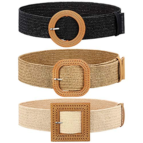 3 Pieces Straw Woven Elastic Waist Belt for Women Bohemian Dress Braided Belt