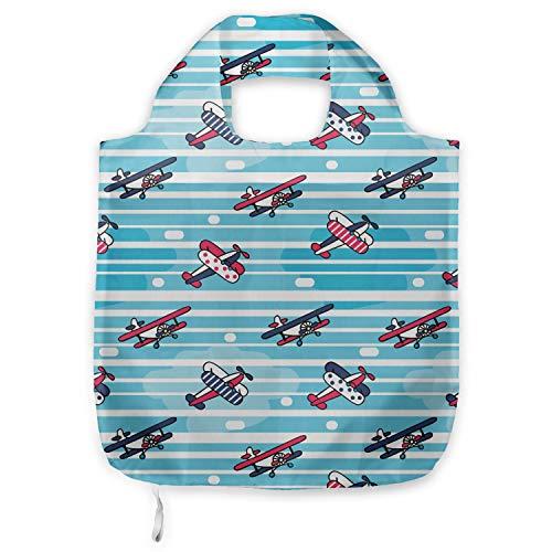 ABAKUHAUS Vintage Vliegtuig Herbruikbare Stoffen Boodschappentas, kleurrijke Craft, Bedrukt, Praktisch en Eenvoudig, Veelkleurig