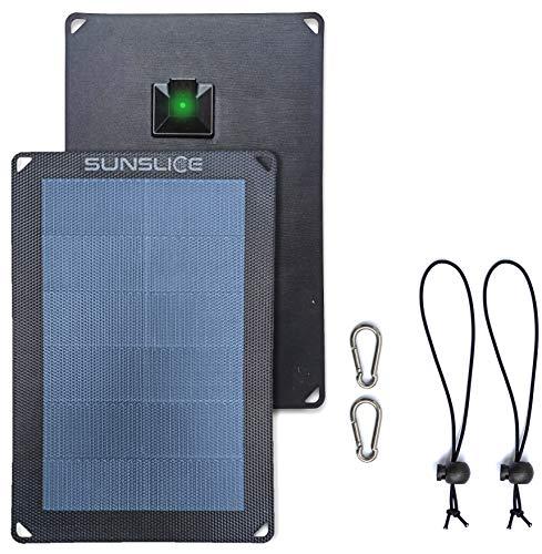 Sunslice Solar Charger Outdoor, Solarmodul flexibel, Solaranlage Camping, Solar Charger wasserdicht mit leistungsstarker 6W Ladekapazität, USB Anschluss