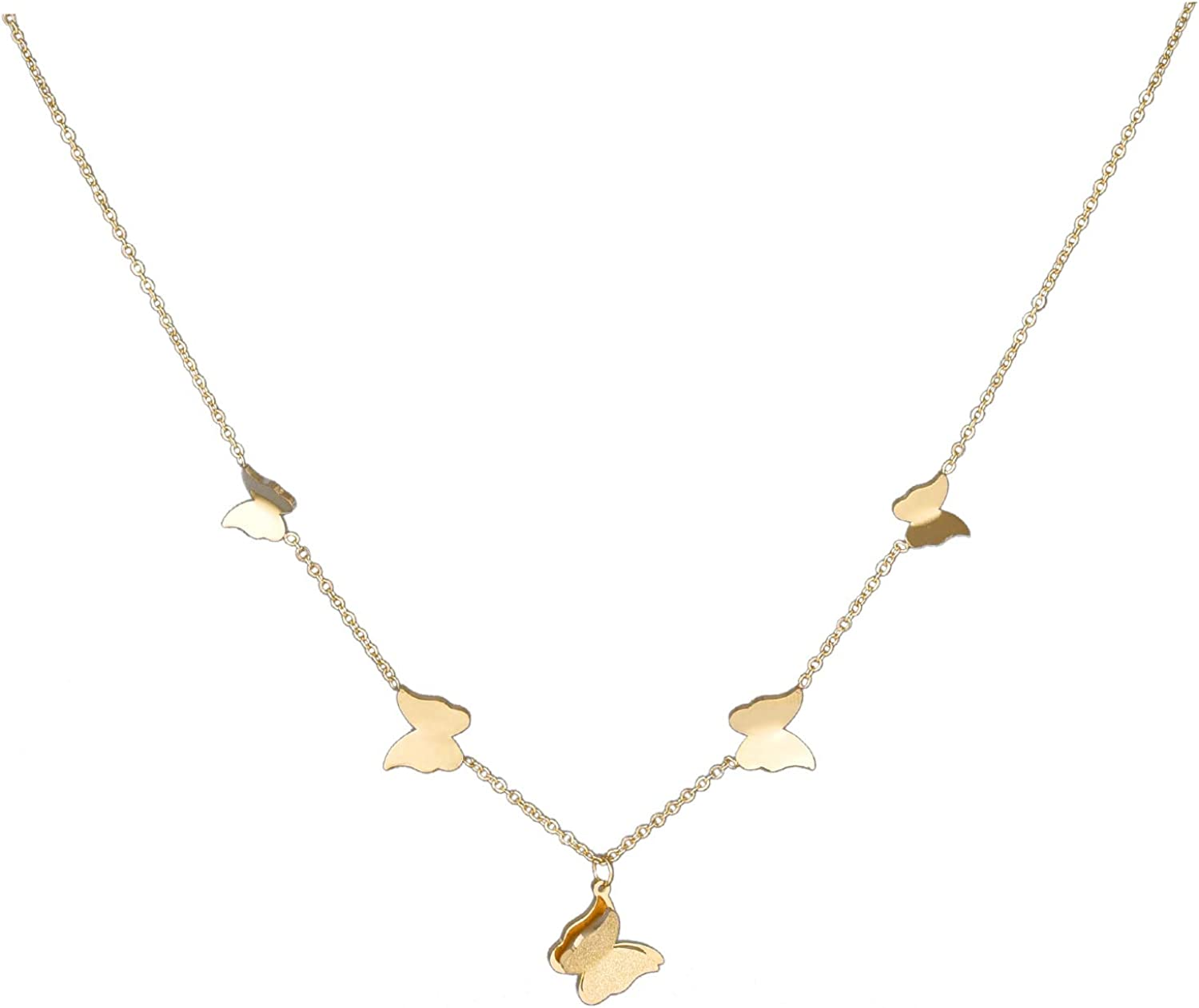 YUESUO 18K Gold Plated Butterfly Pendant Necklace for Women Girls Dainty Chain Handmade Jewelry 16