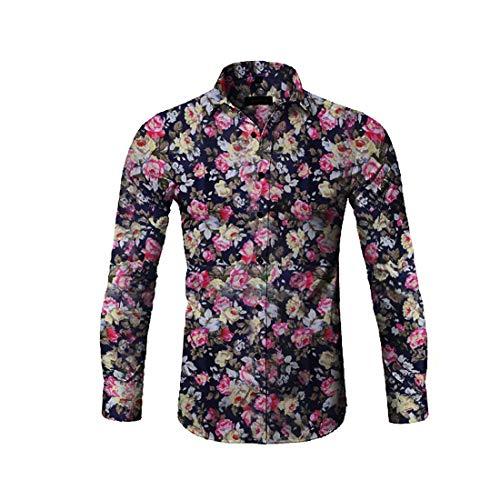 catmoew Herren Hemd Kurzarm Shirt mit Druckknöpfen Umlegekragen Modischem Druck Freizeithemd Blumenhemd Blumenmuster Casual Täglichen Modern Quick Dry Tops