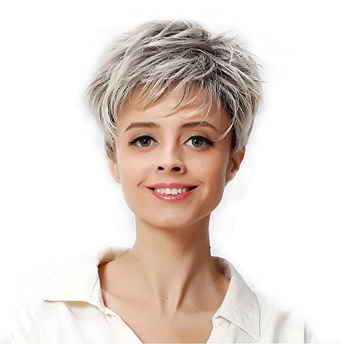 TPulling Perruque femmes❤ Perruque Cosplay Pour femmes❤Mode femme sexy Full Bangs Short Straight perruque (Gris)