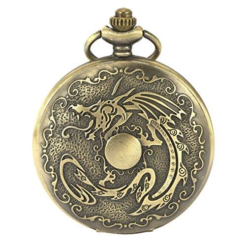 SIBOSUN Herren Alten chinesischen Drachen Vintage Taschenuhr Quarz Bronze Sternzeichen Kette Box arabischen Ziffern