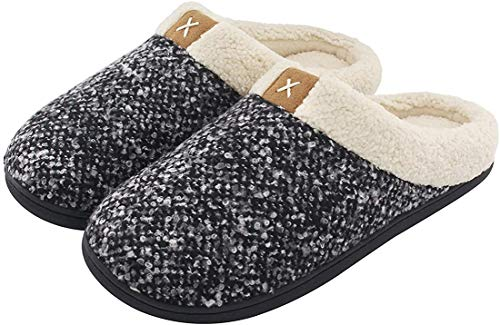 ULTRAIDEAS Men's Cozy Memory Foam Slippers with Fuzzy Plush Wool-Like Lining, Slip on Clog House Shoes with Indoor Outdoor Rubber Sole(Black,11-12)