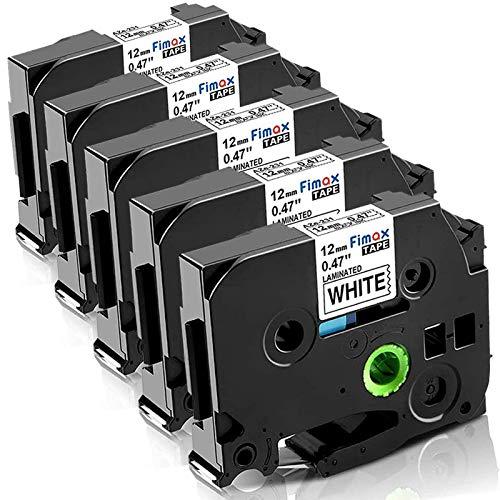 Nastro per Etichette Fimax Compatibile In sostituzione di Brother P-touch Laminato Tape Cassetta TZe-231 12mm per PT-H107B H105 H100LB H100R 1000 1010 P300BT H110 (Bianco, 5Pz.)