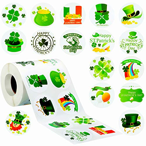 1000 Pieces St. Patrick's Day Roll Stickers Irish Green Shamrock Stickers Round Colored Sticker Labels with 16 Styles for Candy Cookie Bags Envelope Seals Holiday Party Decoration Supplies