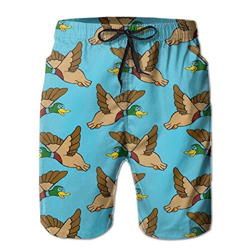 Sheho Fliegende Stockente Enten Männer Mode Badehose Schnelltrocknende Badeanzüge Boardshorts mit Taschengröße XL
