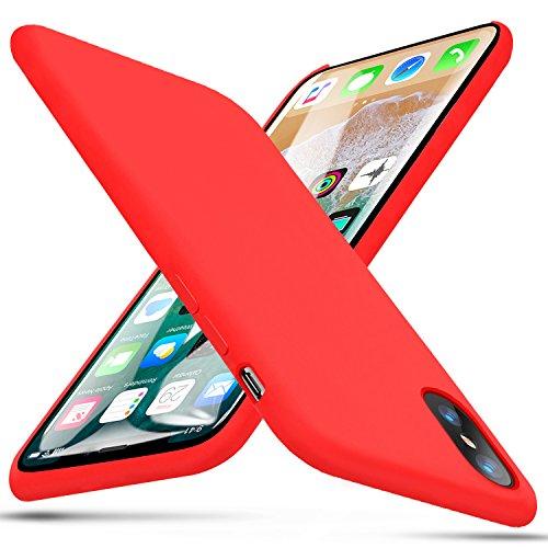 iPhone X Funda, BKSTONE Carcasa prueba de golpes de goma y gel de silicona líquida con suave microfibra Cojín forro de tela para Apple iPhone X (Rojo)