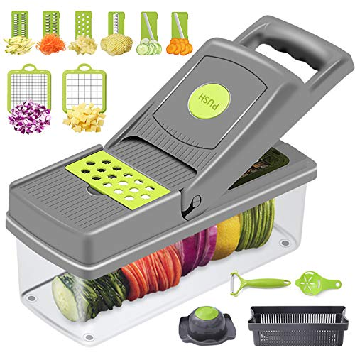 Banliku 12 in 1 Vegetable Chopper and Dicer, Food Chopper Vegetable Cutter Mandoline Slicer, Onion Veggie Chopper Slicer Vegetable Cutter, Potato Cutter Food Dicer for Kitchen with Container - Grey
