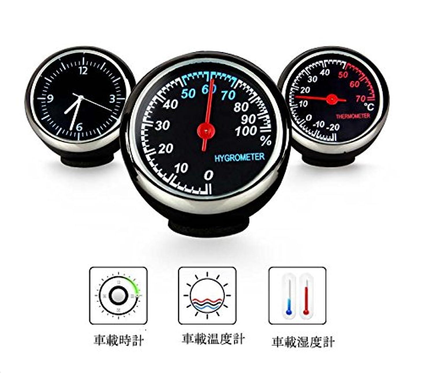納得させるループオートメーション車内用 温度計/湿度計/時計 3連メーター[並行輸入] ドレスアップ 配線不要タイプ 小型軽量 簡単設置 カーアクセサリ 超実用 可愛いデザイン