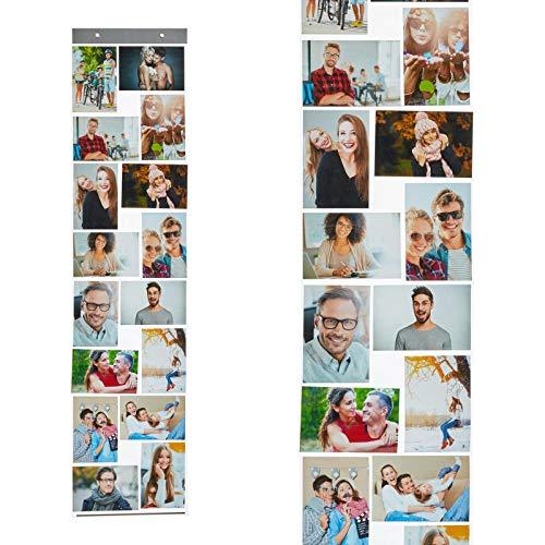 HAC24 Fotovorhang mit 16 Fototaschen 10x15cm für Bilder im Hoch und Querformat Fotohalter Bildervorhang Bilderhalter Foto Vorhang