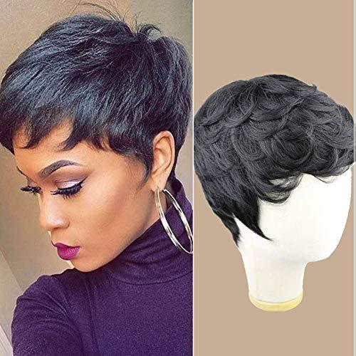 Singlebest Pixie Cut Wigs Court Perruques De Cheveux Humains Avec Une Partie Gratuite Côté Frange Pour Les Femmes Noires 8 Pouces