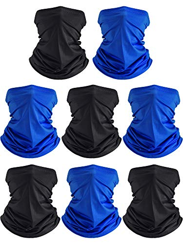 8 Pieces Summer UV Protection Neck Gaiter Scarf Balaclava Cooling Breathable Face Scarf Black, Royal Blue