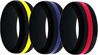 Black Silicone Ring for Men,Thin Changeable Wedding Bands with Middle Line and Plain - Red/Blue/Yellow Centre Line -Pack 3 -with Free Gift Box