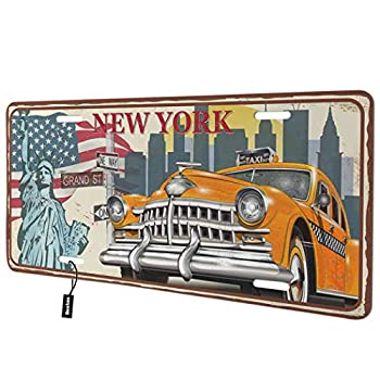 Beabes New York Front License Plate Cover,Vintage American Flag The Statue of Liberty Land Mark Retro Car Decorative License Plates for Car,Novelty Auto Car Tag Vanity Plates for Men Women 6x12 Inch