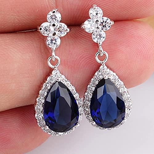 yuge 925 pendientes de moda de plata esterlina joyería femenina zafiro esmeralda rubí piedras preciosas regalos de las mujeres azul
