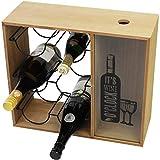 Étagère à vin « Its Wine O Clock » avec porte-bouteille et collecteur de liège MDF 40 x 15 x 35 cm Style vintage