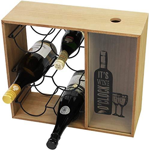 Botellero 'Its Wine O Clock' con soporte para botellas y recolector de corchos, MDF 40 x 15 x 35 cm, estilo vintage, accesorio para vino